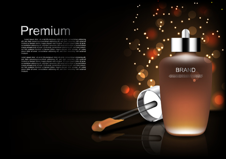 Cosmetic template serum and dropper on dark background