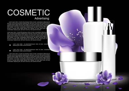Cosmetic set with purple blooming flowers, white cosmetic collection