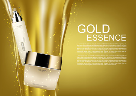 Cosmetic set with pouring gold and gold dust on golden background Illustration