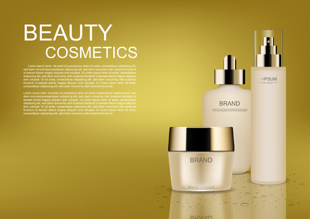 Beauty cosmetic ads, cosmetic cream and template on gold background