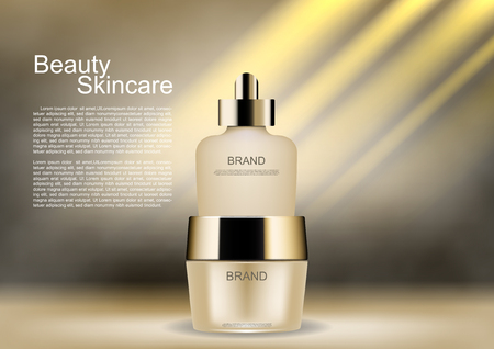 Beauty cosmetic ads, cosmetic set with shining light and smoke