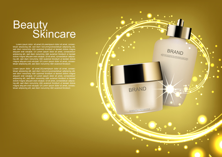 Beauty cosmetic ads, skin care set with gold lights and sparkler lines