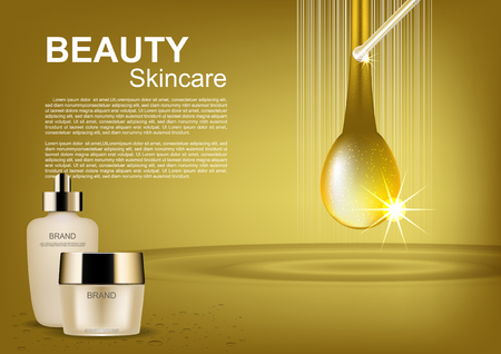 Beauty cosmetic set and gold drop on gold background Illustration