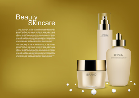 Cosmetic cream and pearls on gold background vector beauty cosmetic ads Illustration