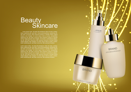Cosmetic set with gold lines and bubble lights on gold background vector cosmetic ads