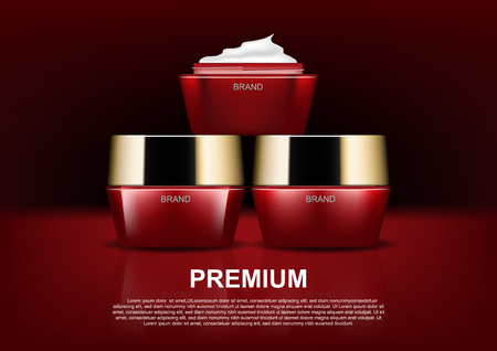 Beauty cosmetic ads, opened red cosmetic cream on dark background concept design