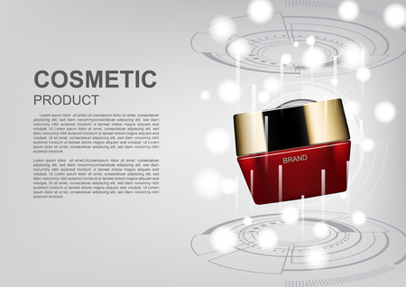 Cosmetic ads poster template, red cosmetic cream with futuristic circle and laser