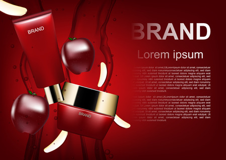 Beauty cosmetic ads, red cosmetic set and apple on red background
