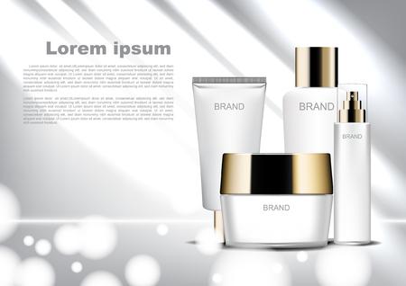 Modèle d'annonces cosmétiques beauté, ensemble cosmétique blanc avec lumière brillante et bokeh
