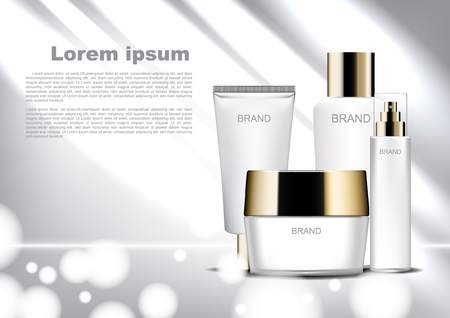 Beauty cosmetic ads template, white cosmetic set with shining light and bokeh Vectores