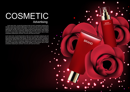 Cosmetic ads template, cosmetic skincare set with roses on dark background and glitter lights.
