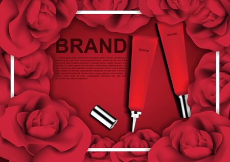 Beauty cosmetic ads, red cosmetic tube with roses on red background and white frame