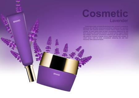 Beauty cosmetic ads cosmetic set with lavender on white and purple background Illustration