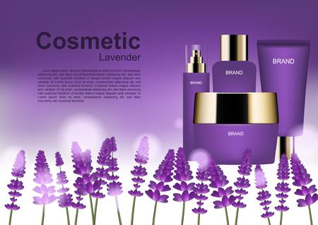 Annonces cosmétiques beauté, ensemble cosmétique avec modèle et champ lavande Banque d'images - 97218628