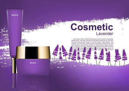 Beauty cosmetic ads, cosmetic set and lavender field on purple background Ilustração