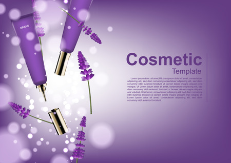 Cosmetic ads template, falling serum and lavender with bubble lights Ilustração