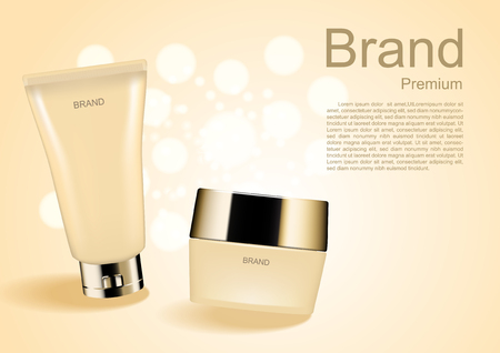 Cosmetic facial foam and night cream ads template on white bubble lights and beige background Ilustração