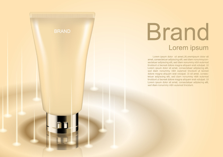 Cosmetic ads template, cosmetic cream and small lights on beige background