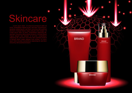 Cosmetic advertisement template with containers for skin care products in red. Illustration