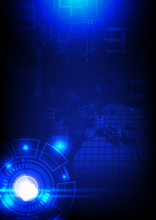 Digital technology background circuit board and glowing light on dark background.