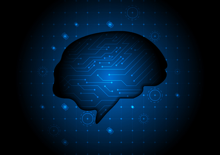 Blue glowing brain figure with circuit lines. vector technology illustration