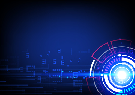 Circle bright user interface with digits and speed lines, tecgnology illustration