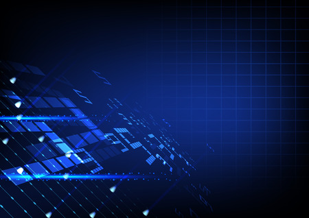 Futuristic technology illustration, Blue digits with light grid and circle interface