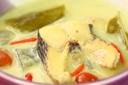 soup with fish and coconut milk photo