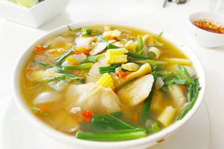 hot and spicy soup made from spices and vegetable