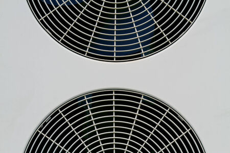 coolant temperature: Two fan of air conditioners Stock Photo