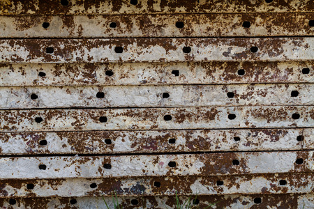 Stack of old brown iron rust background photo