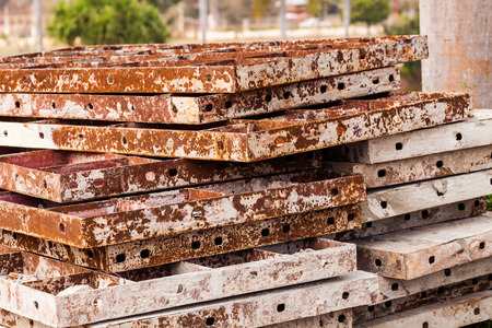 Stack of old brown iron rust for construction background