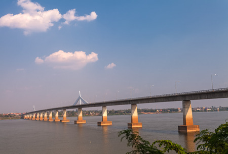 Bridge across the Mekong River. Thai-Lao friendship bridge, Thailand
