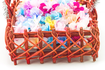 Set ribbon folded into a flower. Wrap coins by hand. I worked for the sacred(ordination ,matriculation ,initiation) in Thailand, on basket photo