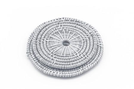rattan mat: Rattan weave mat on a white background