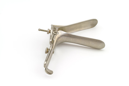 dilate: Medical equipment Gynecologic Speculum on white background