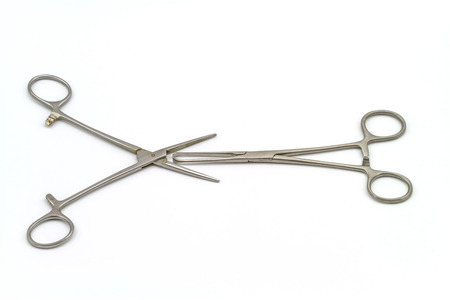 staunch: Surgical instrument straight hemostat sponge forceps   on white background