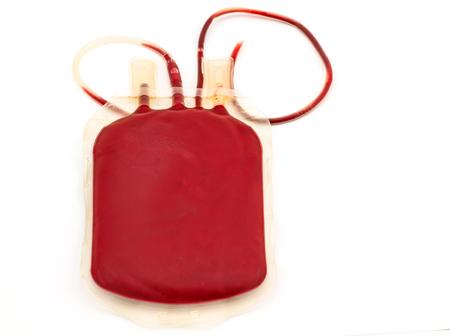 red tube: Cierre de back bolso lado de la sangre y el plasma del grupo A y el tubo de goma en el fondo blanco