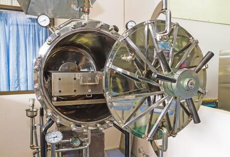 Close up black autoclave, hole of autoclave,sterilization machine for hospital