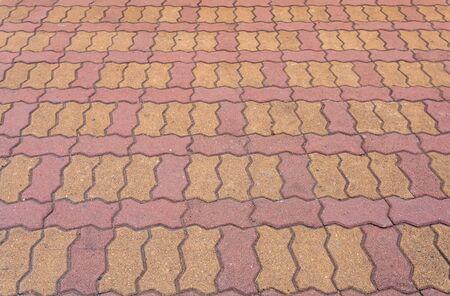 brick floor: Brick pathway colorful in the park