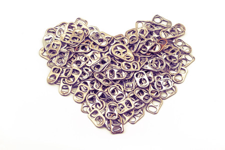 ring pull: Ring pull aluminum of cans stack as heart shape indicate of new hope on white background