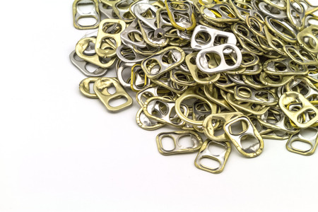 ring pull: Ring pull aluminum of cans on white background