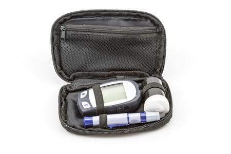 diabetes meter kit: blood glucose meter test kit, the blood sugar value is measured on a finger