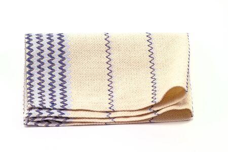 dishcloth: Striped cotton napery  on white background