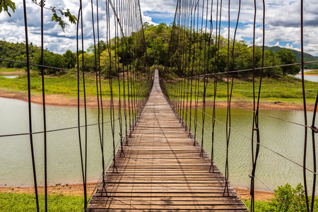 thai stretch: Beautiful of rope bridge in Kaeng Krachan National Park, Phetchaburi, Thailand