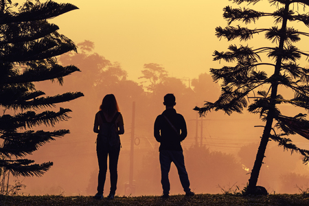 cielo atardecer: A girl and man silhouetted against a sunset sky on pine tree