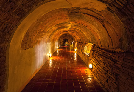 mai: Unseen Thailand the old tunnel of Wat Umong Suan Puthatham temple in Chiang Mai, Thailand