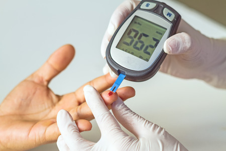 blood glucose meter, the blood sugar value is measured on a finger