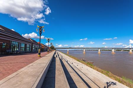 the thai: Bridge across the Mekong River. Thai-Lao friendship bridge, Thailand on blue sky and big cloud