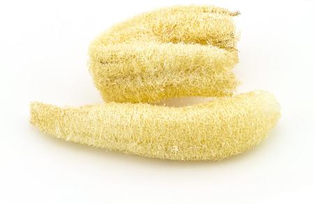 luffa: Loofah Luffa - natural fiber for body scrubbing  on white background